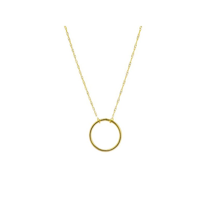 14K Yellow Gold Wire Circle Adjustable Necklace