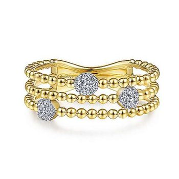 Yellow Gold Three Row Beaded Ring with Pave Diamond Cluster Stations.