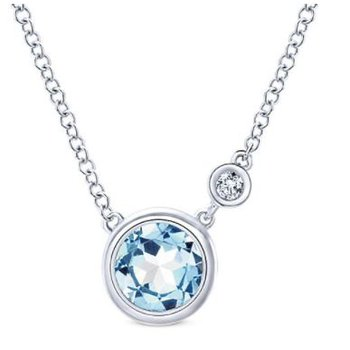 Sterling Silver and Aquamarine Bezel Necklace