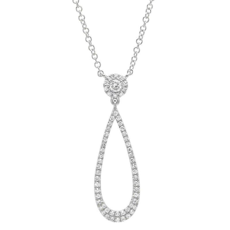 Shy 14K White Gold & Diamond Teardrop Necklace