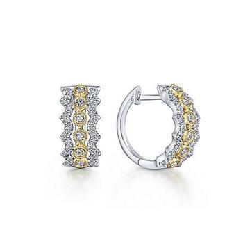14K Two Tone Yellow & White Gold Diamond Hoop Earrings EG13491M45JJ
