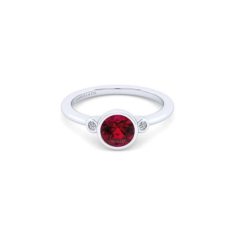 Gabriel Sterling Silver Garnet birthstone ring with two diamond accents.