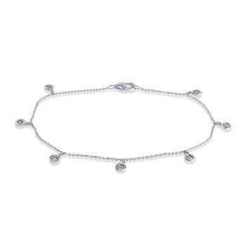 14K White Gold Diamond Dangle Bracelet