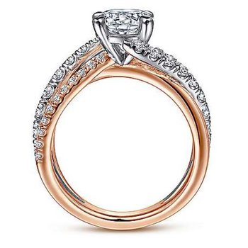 Zaira 14K Two-Tone White-Rose Gold Free Form Engagement Ring