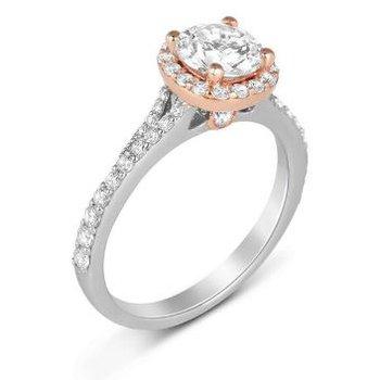 14K Two Tone White & Rose Gold Diamond Engagement Ring S2365