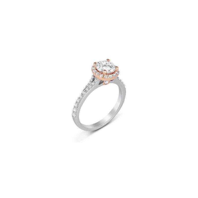 Fana 14K Two Tone White & Rose Gold Diamond Engagement Ring S2365