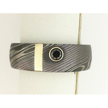 14K Yellow Gold & Damascus Steel Men's Wedding Band