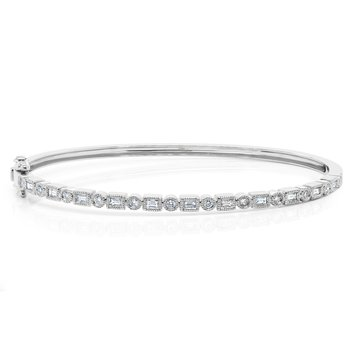 14k White Gold Diamond Baguette Bangle