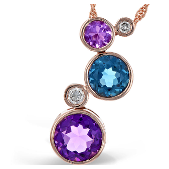14k Rose Gold London Blue And Amethysts Pendant