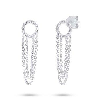14K White Gold Dangle Diamond Earrings