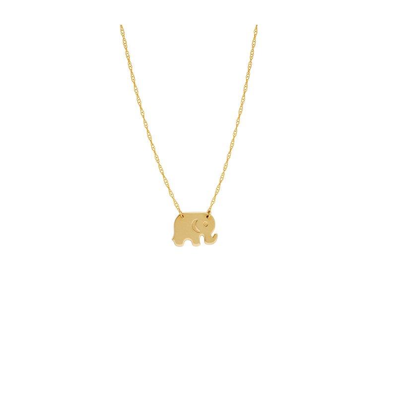 "18"" 14K Yellow Gold Mini Elephant Adjustable Necklace"