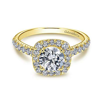 Lyla 14K Yellow Gold Cushion Round Diamond Engagement Ring