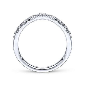 14K White Gold Diamond Curved Anniversary Band