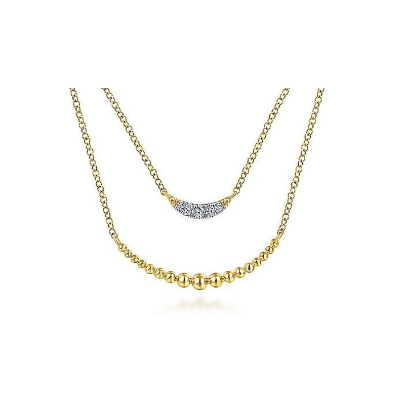 Gabriel 14K Yellow Gold Two Strand Diamond Crescent and Bujukan Beaded Necklace