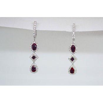 Fancy Ruby and Diamond Halo Earrings