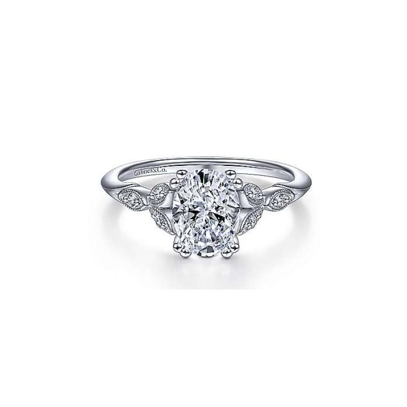 Gabriel 14K White Gold Celia Oval Diamond Engagement Ring.