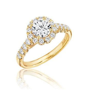 14K Yellow Gold Diamond Engagement Ring S2591