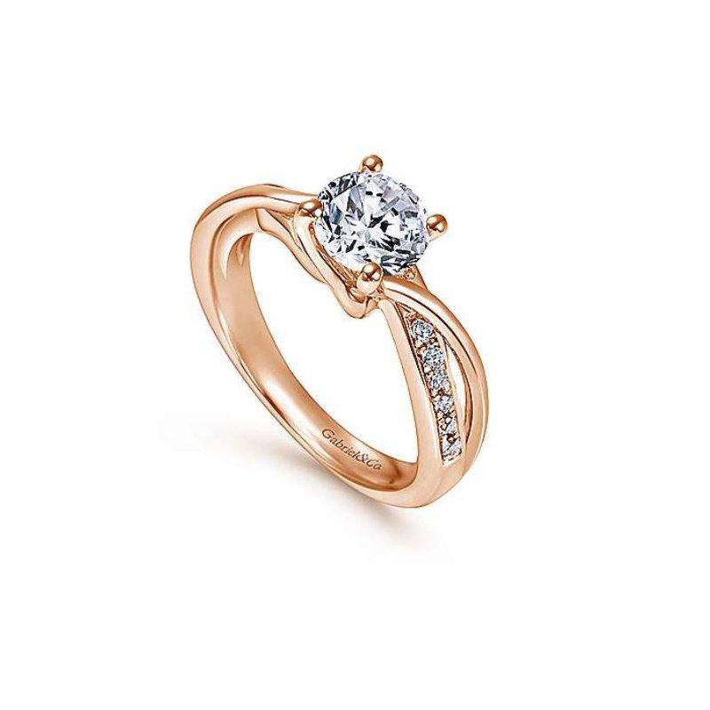 Gabriel Aleesa 14K Rose Gold Twisted Round Diamond Engagement Ring