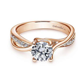 Aleesa 14K Rose Gold Twisted Round Diamond Engagement Ring
