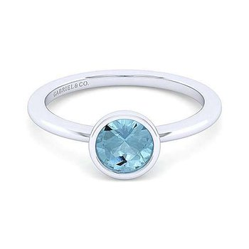 Sterling Silver and Aquamarine Bezel Ring