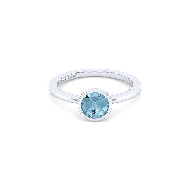 Gabriel Sterling Silver and Aquamarine Bezel Ring