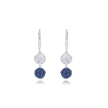 925 Sterling Silver Sapphire Cluster Hammered Disc Drop Earrings