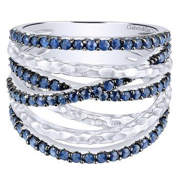 925 Sterling Silver and Blue Sapphire Ribbon Fashion Ring LR51020SVJSB