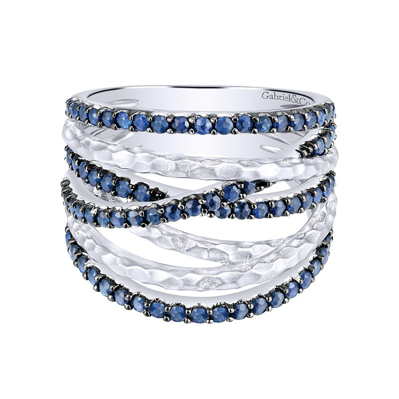 Gabriel 925 Sterling Silver and Blue Sapphire Ribbon Fashion Ring LR51020SVJSB