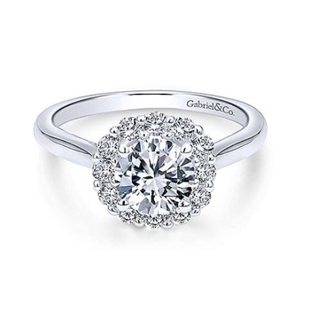 Althea 14K White Gold Round Diamond Engagement Ring