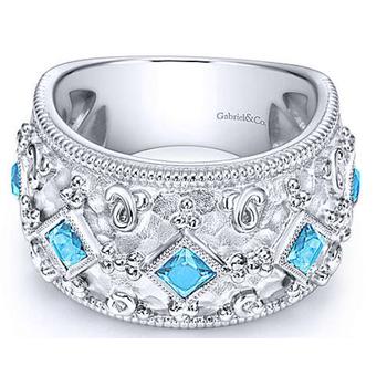 Sterling Silver Blue Topaz Fashion Ring LR6610SVJBT