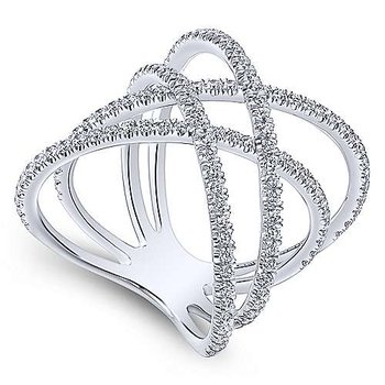 14K White Gold Ladies Diamond Fashion Ring