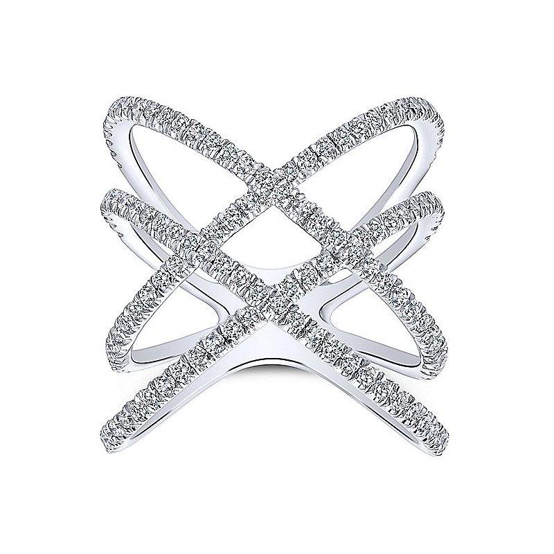 Gabriel 14K White Gold Ladies Diamond Fashion Ring