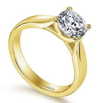 Jamie 14K Yellow Gold Round Diamond Engagement Ring