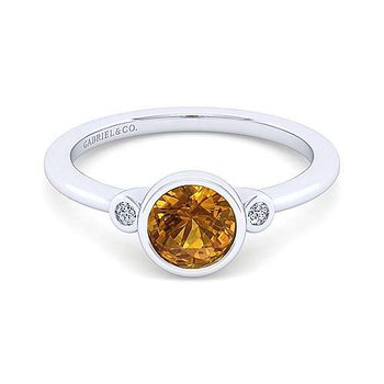 Sterling Silver and Citrine Bezel Ring