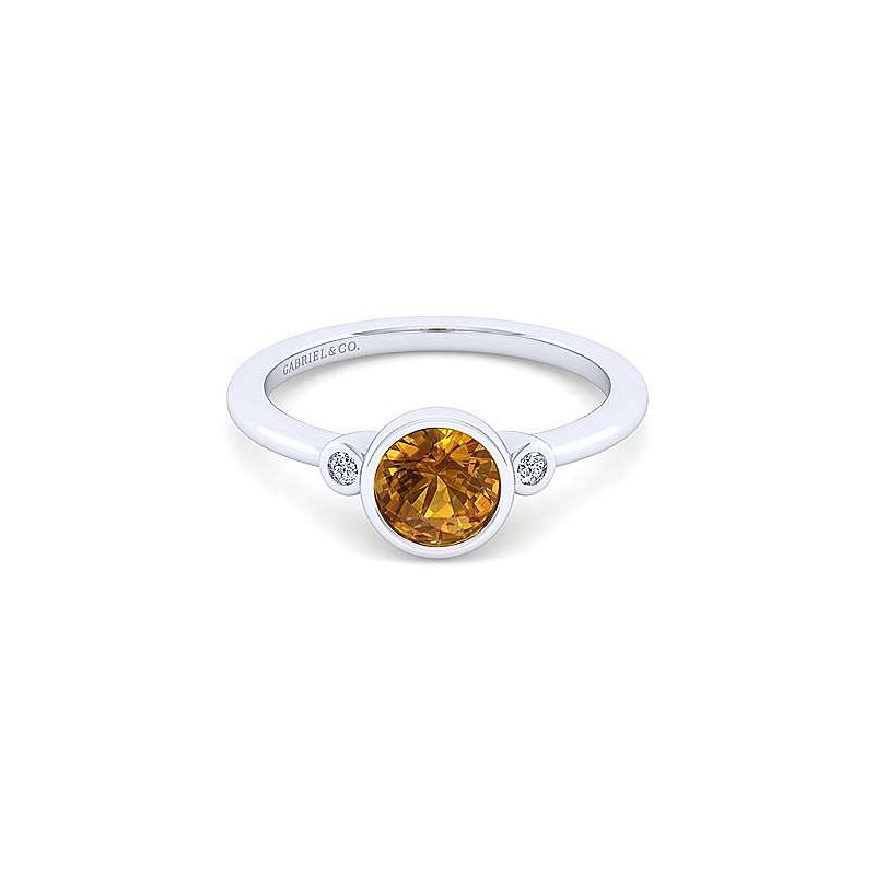 Gabriel Sterling Silver and Citrine Bezel Ring