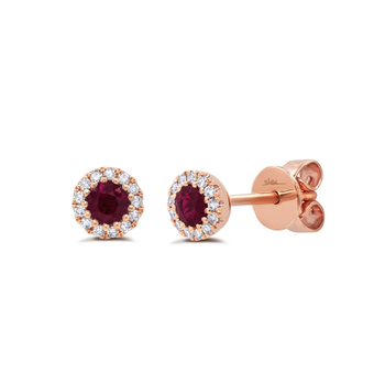 Diamond and Ruby Stud Earrings