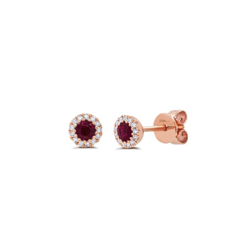 Diamond and Ruby Stud Earrings