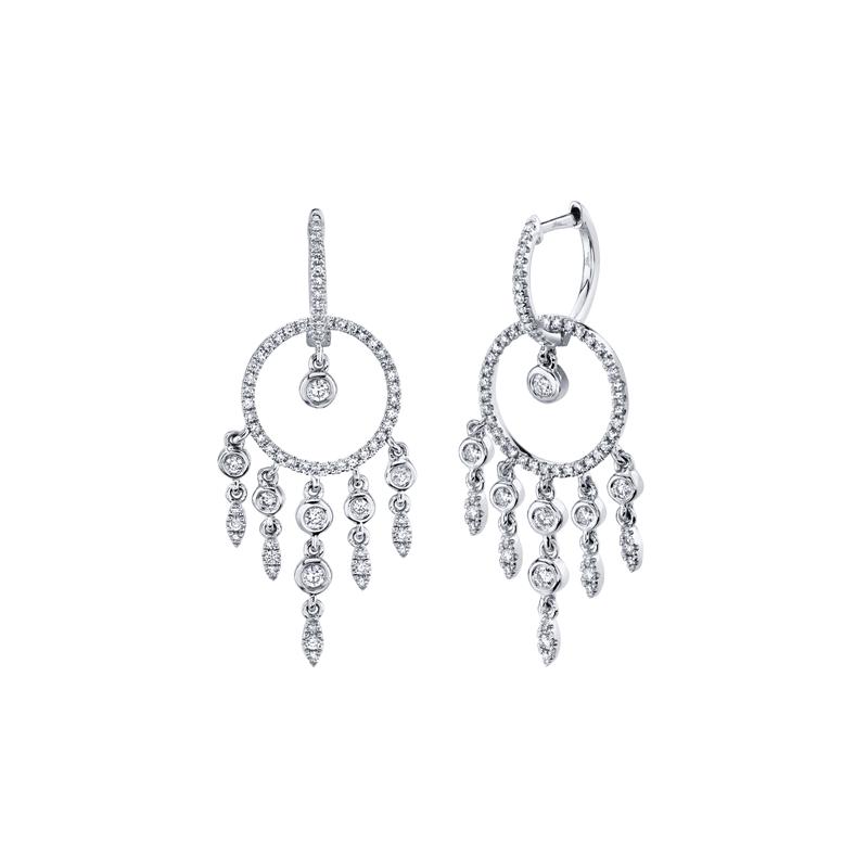 Shy Creation 14K White Gold Dangle Earrings