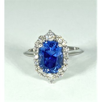 14k White Gold Unheated Natural Sapphire and Diamond Ring