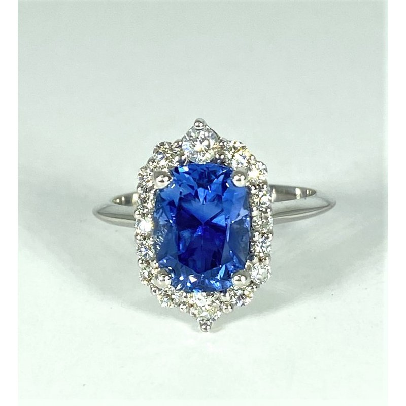 Thollot & Co. 14k White Gold Unheated Natural Sapphire and Diamond Ring