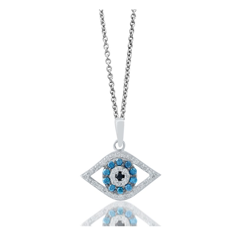 Pendant Only or with Chain Sterling Silver Evil Eye -925 Sterling Silver