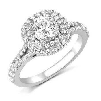 14K White Gold Diamond Engagement Ring S2369