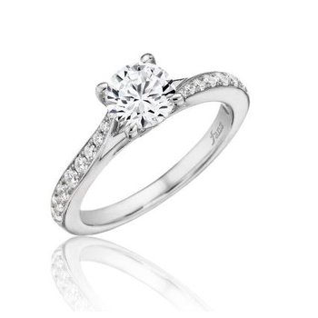 14K White Gold Diamond Engagement Ring S2593