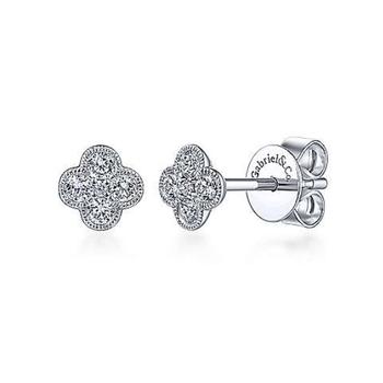 14K White Gold Diamond Stud Earrings EG13715W45JJ