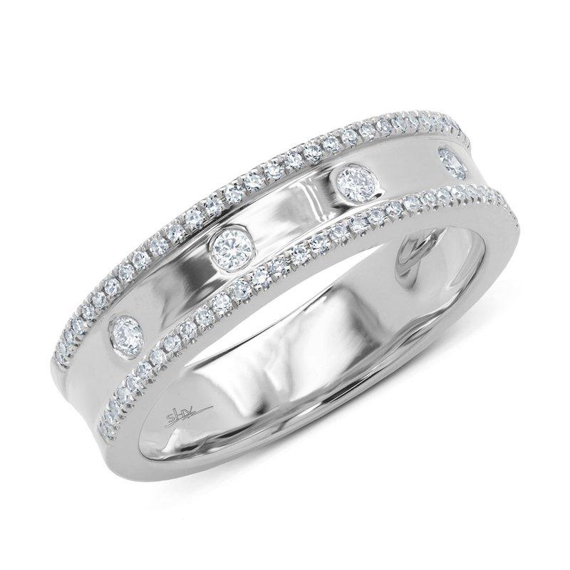 Shy 14K White Gold Ladies Flush Set Diamond Fashion Ring