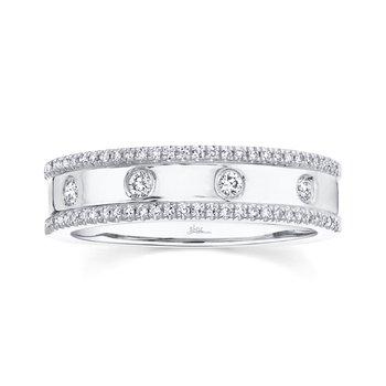 14K White Gold Ladies Flush Set Diamond Fashion Ring