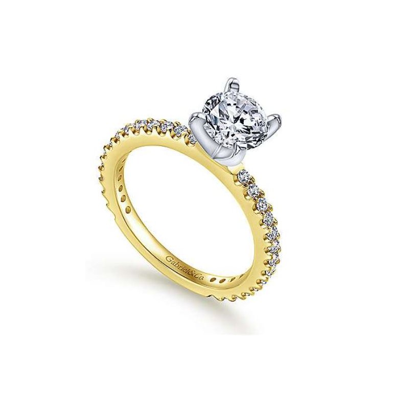 Gabriel Logan 14K Two-Tone White and Yellow Gold Engagement Ring