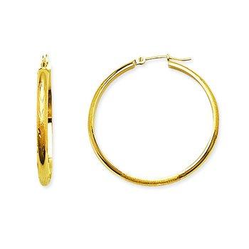 14K White Gold Half Round Hoop Earrings