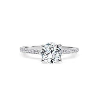 14K White Gold Diamond Engagement Ring S2818