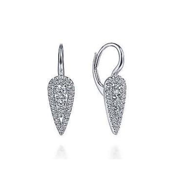 14K White Gold Diamond Hoop Earrings EG13645W45JJ